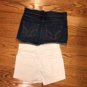 Hollister Shorts - 2 high waisted hollister shorts - denim & white!